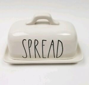 Rae-Dunn-Spread-Dish-New-LL-Large-Letter-Farmhouse-Style-Butter-Ivory-Ceramic