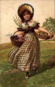 Scheda-di-artisti-arte-cartolina-1930-ragazza-donna-con-cesto-di-fiori-in-montagna