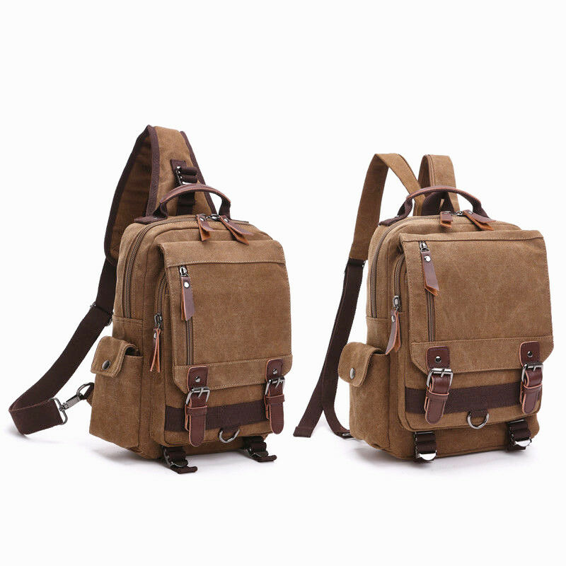 Canvas Messenger Bag Shoulder Backpack Travel Travel Hiking Chest Bag ... - s l1600
