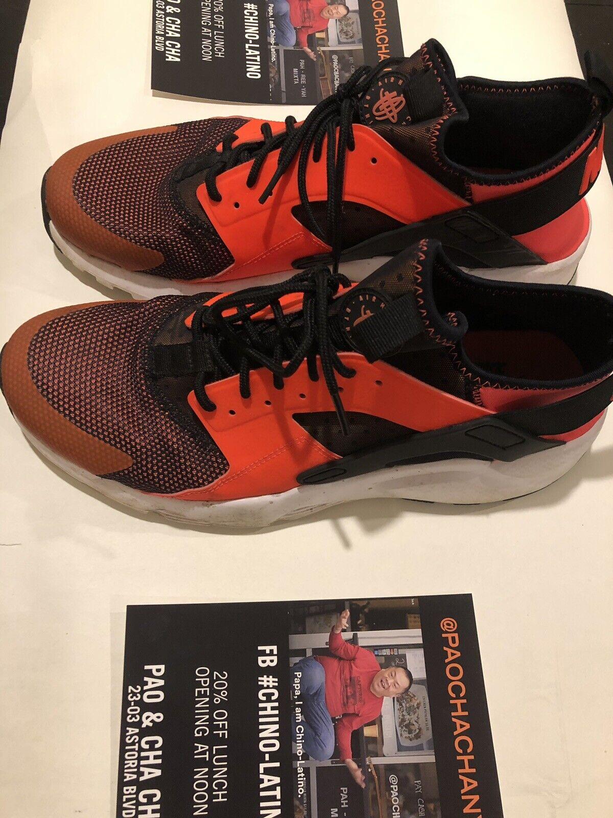 Nike Air Huarache Run Ultra Black Total Crimson White orange 819685-008 Sz 12.5