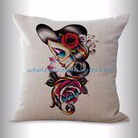Us Seller- Wholesale Pillow Cases Sugar Skull Dia De Los Muertos Cushion Cover
