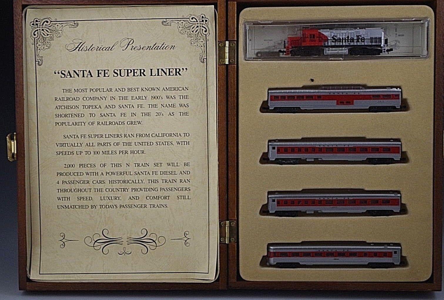SANTA FE SUPER SUPER SUPER LINER 5 PIECE TRAN SET N SCALE WOOD BOX L.E. 1199 2000 MIB COA 93f2f7