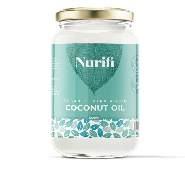 Organic Extra Virgin Coconut Oil - 1000ml - Pure, Raw & Cold Pressed Glass Jar