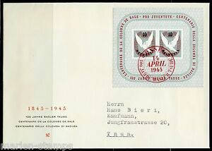 SWITZERLAND-MICHEL-BL12-BASEL-DOVE-S-S-FIRST-DAY-COVER-TO-THUN