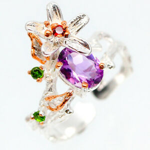 Free-size-Ring-Natural-Amethyst-7x5-mm-925-Sterling-Silver-Ring-RVS118