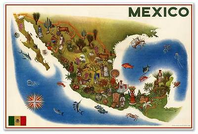 HUGE Birds Eye View Art MAP Painting of MEXICO by Luis Covarrubias circa 1960
