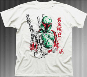 aba56f8e50b Details about Star Wars inspired Bounty Hunter BOBA FETT white printed t- shirt OZ9871
