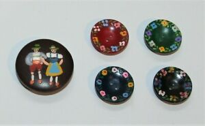 5 Hand-Painted Vintage 1950s Switzerland Wooden Sewing Buttons Flowers Man Woman