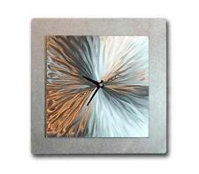Hurry, Just a Few Left! Modern Silver Metal Wall Clock - Vortex 12 by Jon Allen