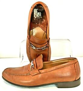 Johnston Murphy Cresswell Loafer Men's 9 M Brown Leather Bit Slip On Dress Shoes