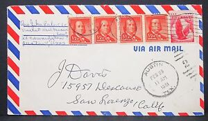 US-Airmail-Envelope-Austin-Franklin-Dual-Franked-Pair-Mif-USA-Lupo-Letter-Y-450