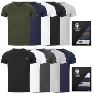 Mens T-Shirt 5er-Set Basic T-Shirt Short Sleeve V-Neck Crew Neck M69
