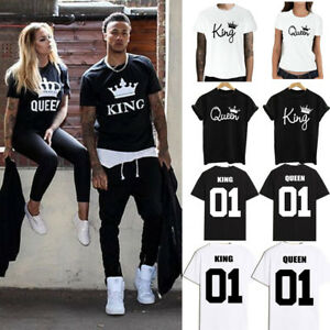 e5a6efc9bf Details about Couple T-Shirt King & Queen Sweet Family Love Matching  Clothes Tee Men Women Top