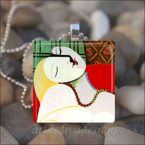 "/""THE DREAM/""  Pablo Picasso GLASS TILE PENDANT NECKLACE KEYCHAIN"
