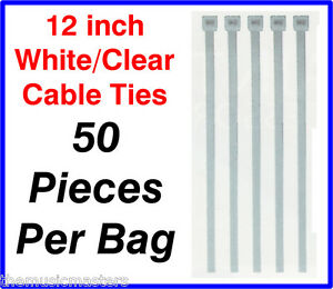 "50 Pieces 12"" inch White Plastic Nylon CABLE TIES Wire Cord Wrap Network Zip Tie"