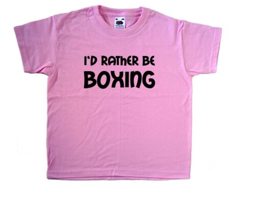 I/'d Rather Be Boxing Pink Kids T-Shirt