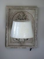 A Pair Of French Aged Style Carved Plaque Wall Lights With Embroidered Shades