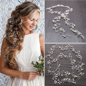 35cm-Pearl-Wedding-Hair-Vine-Crystal-Bridal-Accessories-Diamante-Headbands-Hot