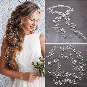 Pearls Wedding Hair Vine Crystal Bridal Accessories Diamante Headpiece 1 Piece