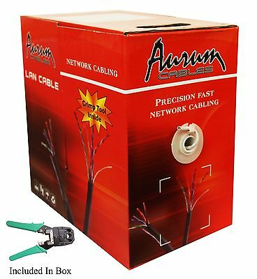 Aurum Cable 1000ft Pull Box CAT5e Ethernet Network Cable with Crimp 350 Mhz cat5