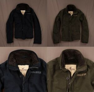 Hollister Mens Old Town Coat Jacket Faux Sherpa Lined Mock ...