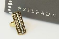 Silpada NIB K & R Swarovski Crystals Brass Size 9 Pearls Night Out Ring KRR0024