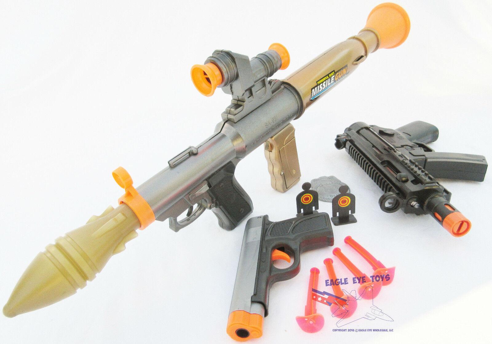 3x Toy Guns Electronic Toy Bazooka & MP5 w  Mega Sound FX Grey 9MM Dart Pistol