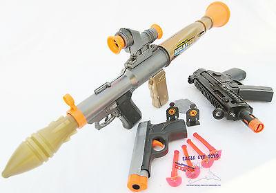 3x Toy Guns Friction M-16 Toy Rifle Elec MP5 w// Sound FX Grey 9MM Dart Pistol