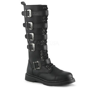 868361a134f Details about DEMONIA Men's Goth Combat Lace Up Adjustable Buckle Straps  Black Knee High Boots