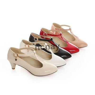 Womens Ankle T-Strap Mary Janes Kitten Heels Pointy Toe Lady's Dress Shoes NC01