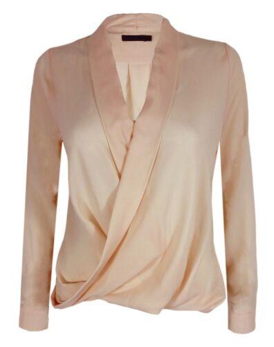 Donna chiffon manica lunga camicetta collo a V T Shirt Wrap Front Lavoro Top wrkl