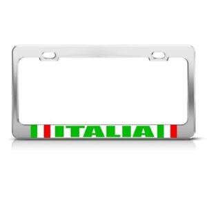 Italia With Flag Chrome License Plate Frame