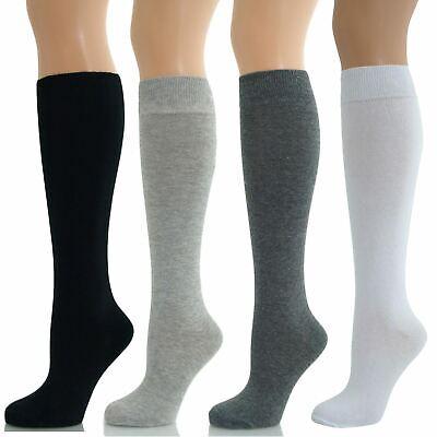 1,3,6 Pairs Ladies Girls Long Knee High Plain Cotton Socks Size 9/12 12/3 4/7