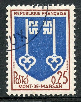 Mont De Marsan Fancy Colours Timbre France Oblitere N° 1469 Blason Well-Educated Stamp