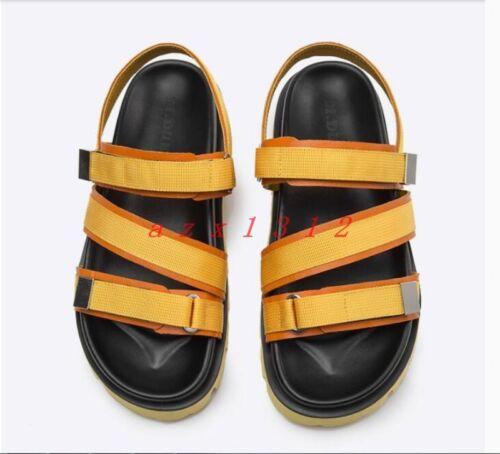Chic Hommes Bout Ouvert Bride Cheville Talon Compensé Sport Romains Sandales Plage Chaussures en cuir