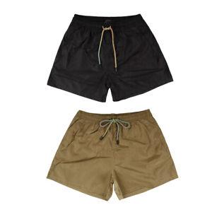 Costume-da-Bagno-Uomo-Tinta-Unita-Beige-Nero-Pantaloncini-Mare-Boxer-Corto-Lacci