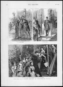 1887-Antique-Print-LONDON-Buckingham-Palace-State-Concert-Harp-Beefeater-151