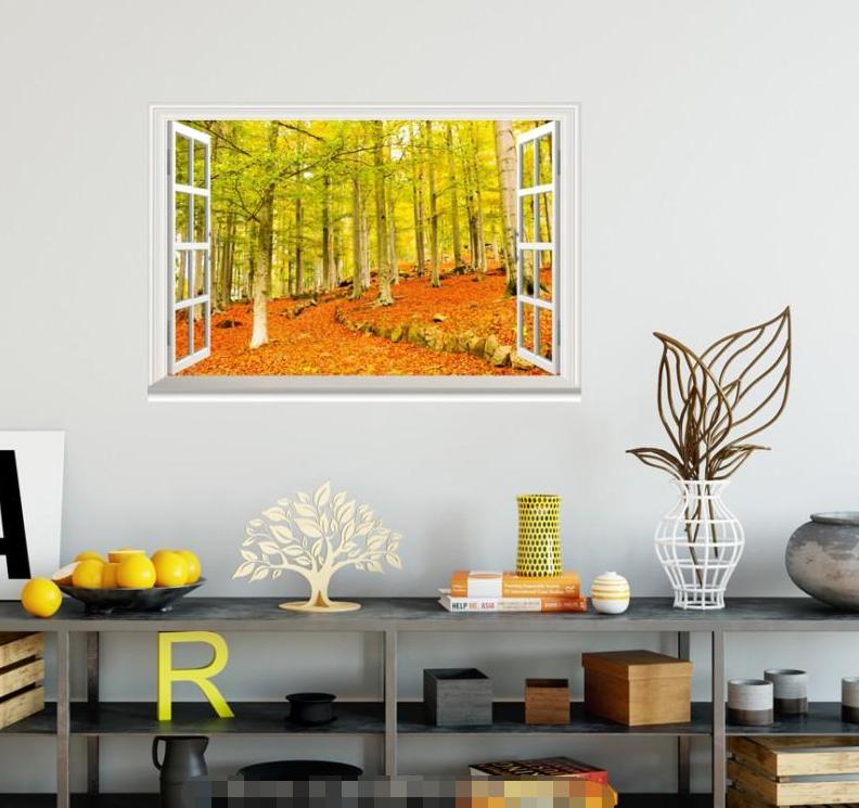3D Trees Defoliate 59 Open Windows Mural Wall Print Decal Deco AJ Wallpaper Ivy