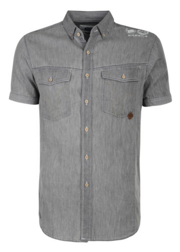 Smith /& Jones Uomo Nuova Manica Corta Camicie Denim controllo STRIPE PATTERN Plain