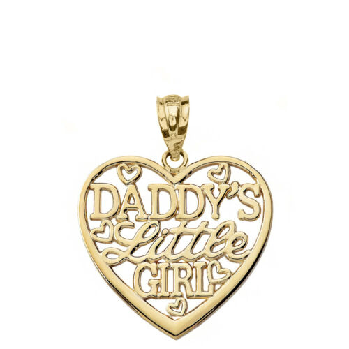 Solid 10k Yellow Gold Daddy/'s Little Girl Heart Pendant Necklace