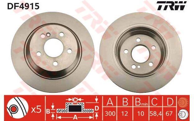TRW Juego de 2 discos freno 300mm SEAT IBIZA MERCEDES-BENZ CLASE S OPEL DF4915