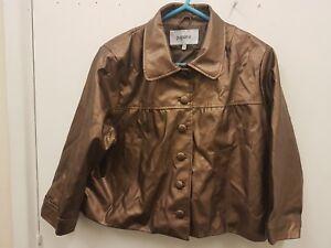 Papaya-Gold-Leather-Petite-Bomber-Jacket-Coat-Size-UK-14