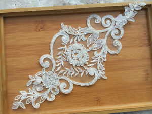 Beaded wedding motif ivory embroidery corded applique bridal lace