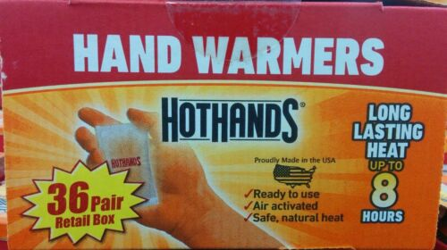72 Total Warmers HotHands Heatmax Hand Warmers *36* Pairs, -New Sealed Box