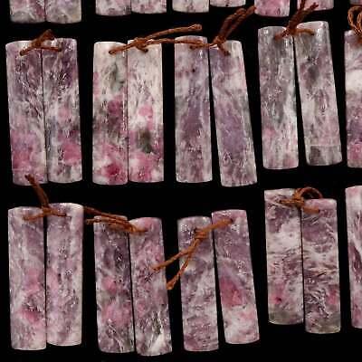 1 Pair Elongated Teardrop 8mm x 25mm Rose Quartz  Pear Briolette Beads SALE Matched Pair Natural Rose Quartz Beads Half Drilled