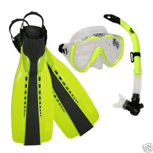 Scuba Diving Silicone Mask Semi-Dry Snorkel Fins Gear Set