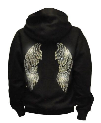 Women So Cute Angel Wings Rhinestone Pullover Hoodie Sweater w// Hearts S ~ 3XL