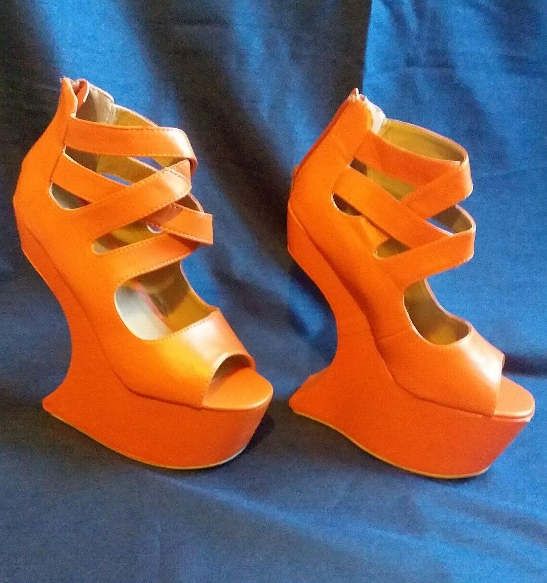Bumper Cross Orange Heel Less Criss Cross Bumper Curved Wedge Peep toe bb6184