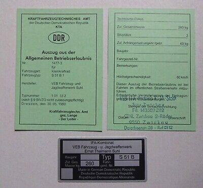 ABE S 51 b SIMME  Mokick KKR Betriebserlaubnis SIMSON und Typenschild  DDr Stil