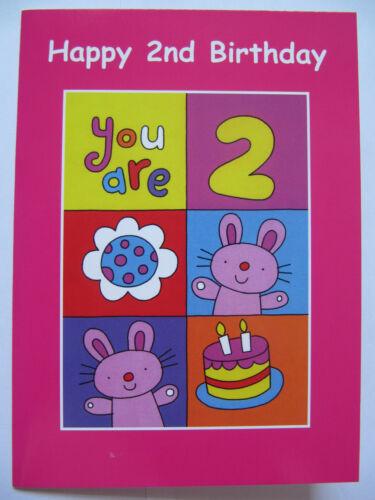 FANTASTIC BUNNIES /& BIRTHDAY CAKE HAPPY 2ND BIRTHDAY GREETING CARD